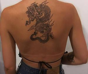 tattoo, dragon, and back image