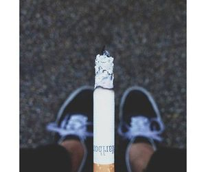 cigarette, vans, and smoke image