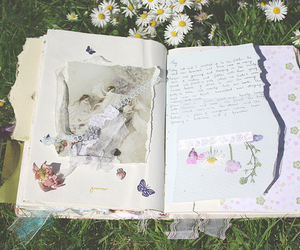 flowers, book, and diary image
