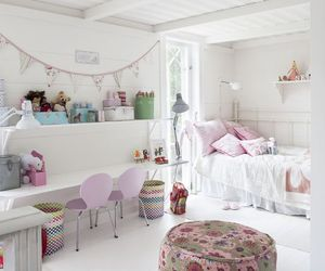 interior and girls room. pink white image