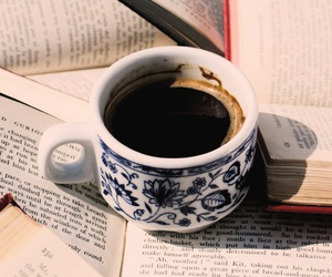 black coffee, books, and coffee image