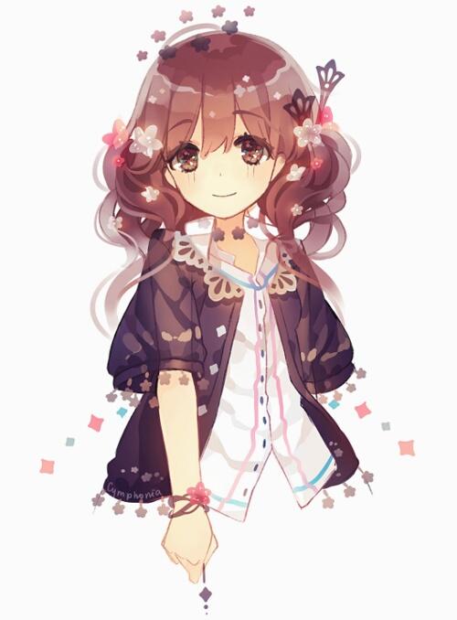 Brown Hair Brown Eyes Black Cardigan Anime Girl