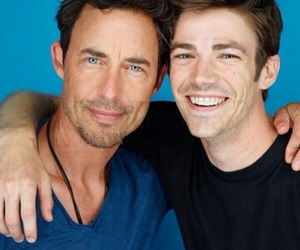 grant gustin, the flash, and tom cavanagh image