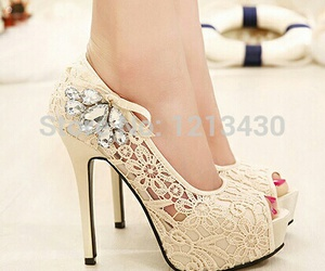 white high heels shoes image