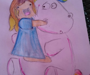 cuddle, unicorn, and watercolor image