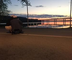 bridge, sunset, and sweden image