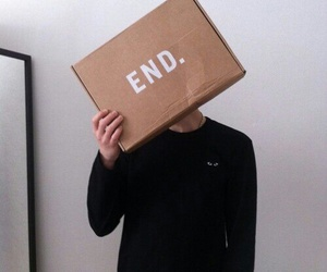 end, boy, and black image