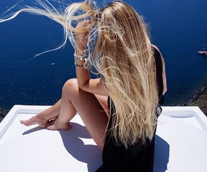 blonde, hair, and sea image