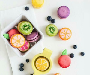 fruit, food, and macarons image