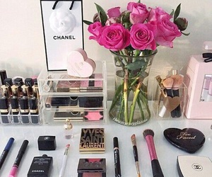 makeup, chanel, and flowers image