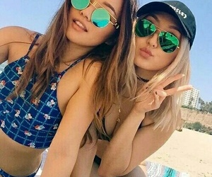 beach, blond, and best friends image