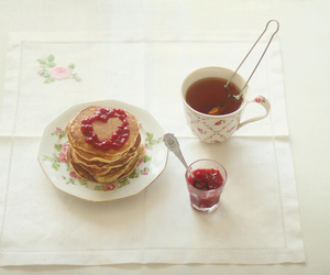 breakfast, pancakes, and tea image