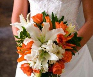 flowers, wedding dress, and orange image