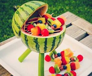 fruit, watermelon, and strawberry image