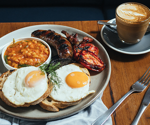 baked beans, breakfast, and coffee image