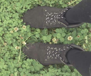 black, chaussures, and trefle image