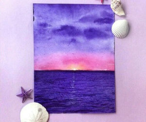 art, ocean, and purple image