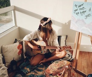 guitar, girl, and photography image