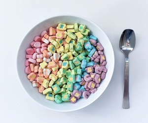 food, cereal, and rainbow image
