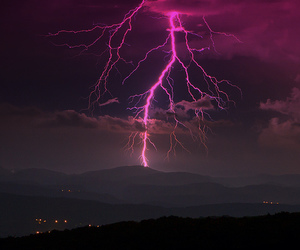 sky, lightning, and pink image
