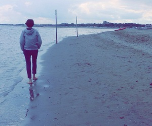 beach, filter, and sadness image