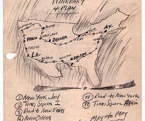 on the road, Jack Kerouac, and map image