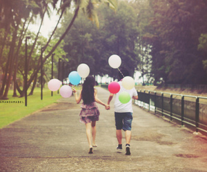 couple, balloons, and boy image