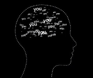black, you and me, and head image