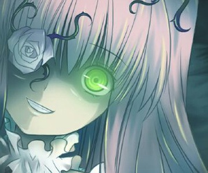 green eyes, anime, and glowing eyes image