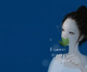 blue, girl, and leaf image
