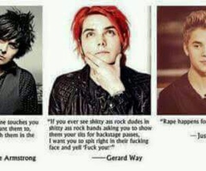 gerard way, billie joe armstrong, and justin bieber image