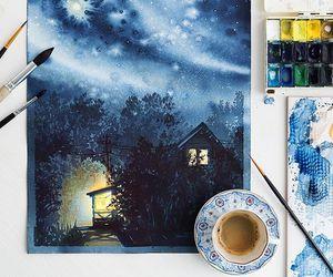 art, coffee, and house image
