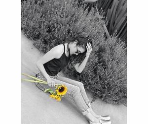 blackandwhite, flowers, and idea image