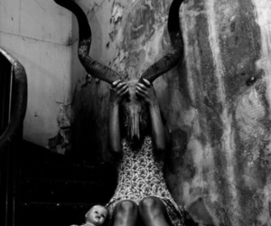 black and white, dark, and doll image