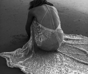 dress, beach, and black and white image