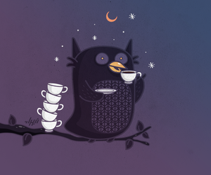 owl, coffee, and night image