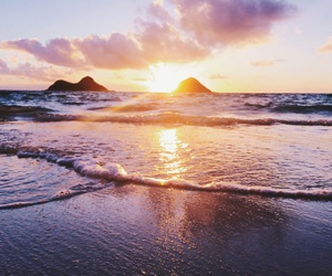 sea, beach, and sunset image