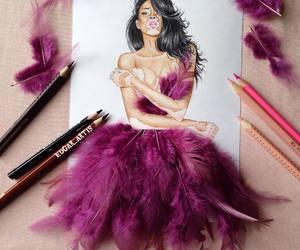 art, drawing, and dress image