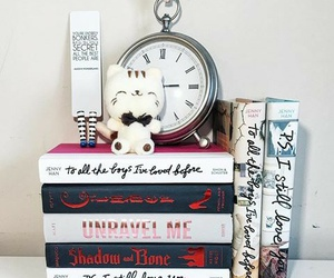 bookish, books, and clock image