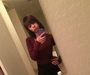 bangs, maroon, and short hair image