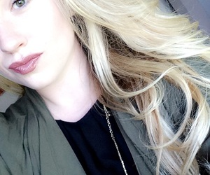 blonde, green, and lipstick image