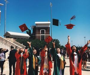 caps, grad, and graduation image