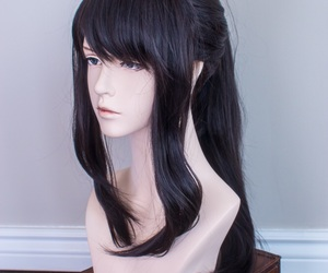 black hair, hair, and wigs image