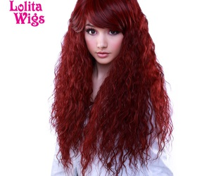 curly, long hair, and red image
