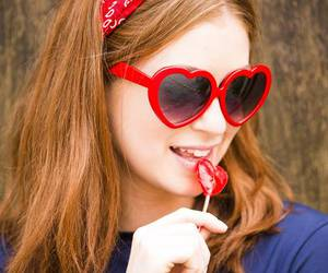heart shapped glasses, lolita, and redhead image