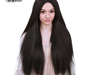 black hair, wigs, and long hair image