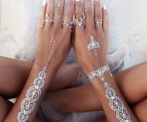 beach, silver, and henna image