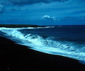 beach, sea, and black sand image
