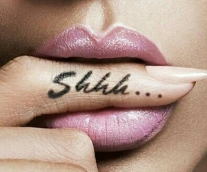 pink lipstick, finger tattoos, and shhh tattoos image