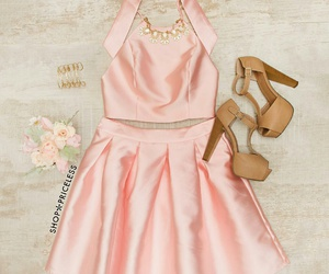 gold bracelets, statement necklaces, and girly outfit image